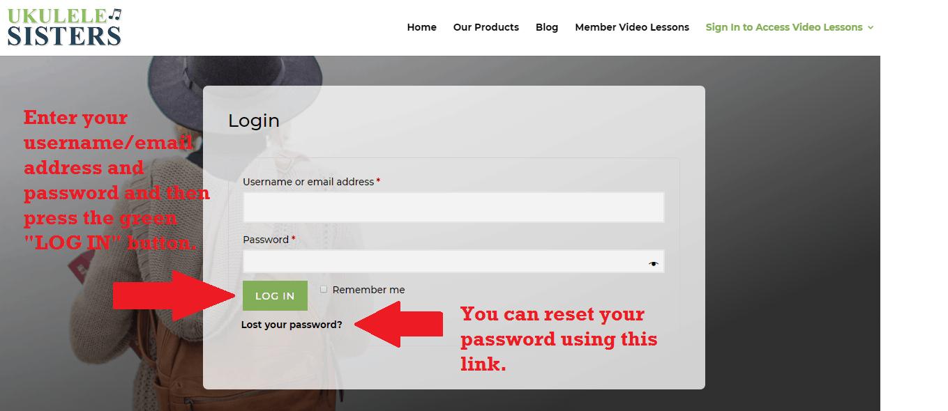 screenshot of log in page