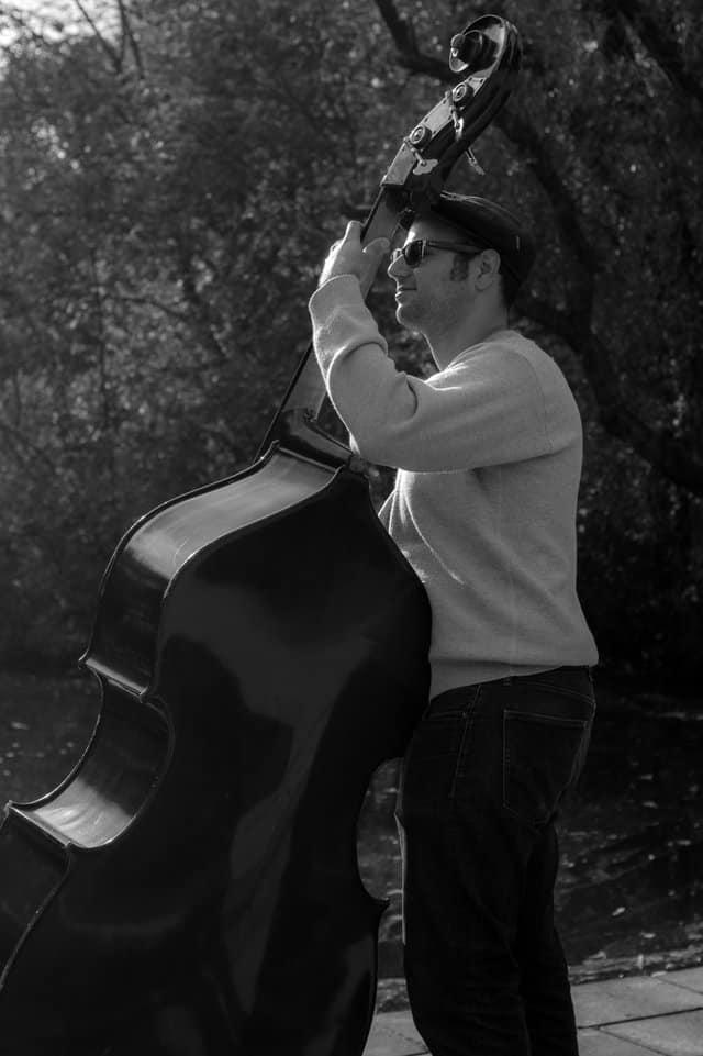 Man playing string bass